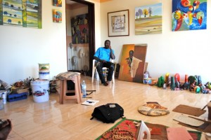 Donald Wasswa in his studio