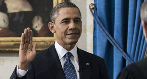 President Obama takes the  oath of office. He is the only President, other than FDR, who has taken the oath four times.