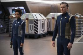 """""""Saints of Imperfection"""" -- Episode #205 -- Pictured (l-r): Sonequa Martin-Green as Burnham; Anson Mount as Captain Pike of the CBS All Access series STAR TREK: DISCOVERY. Photo Cr: Michael Gibson/CBS ©2018 CBS Interactive, Inc. All Rights Reserved."""