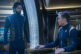 """Light and Shadows"" -- Episode #207 -- Pictured (l-r): Shazad Latif as Tyler; Anson Mount as Pike of the CBS All Access series STAR TREK: DISCOVERY. Photo Cr: Michael Gibson/CBS ©2018 CBS Interactive, Inc. All Rights Reserved."
