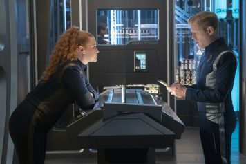 """Light and Shadows"" -- Episode #207 -- Pictured (l-r): Mary Wiseman as Tilly; Anthony Rapp as Stamets of the CBS All Access series STAR TREK: DISCOVERY. Photo Cr: Michael Gibson/CBS ©2018 CBS Interactive, Inc. All Rights Reserved."