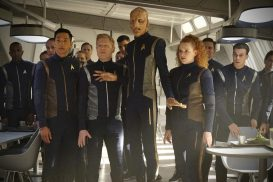 """If Memory Serves"" -- Ep#208 -- Pictured (l-r): Patrick Kwok-Choon as Rhys; Anthony Rapp as Stamets; Doug Jones as Saru; Mary Wiseman as Tilly of the CBS All Access series STAR TREK: DISCOVERY. Photo Cr: Michael Gibson/CBS ©2018 CBS Interactive, Inc. All Rights Reserved."