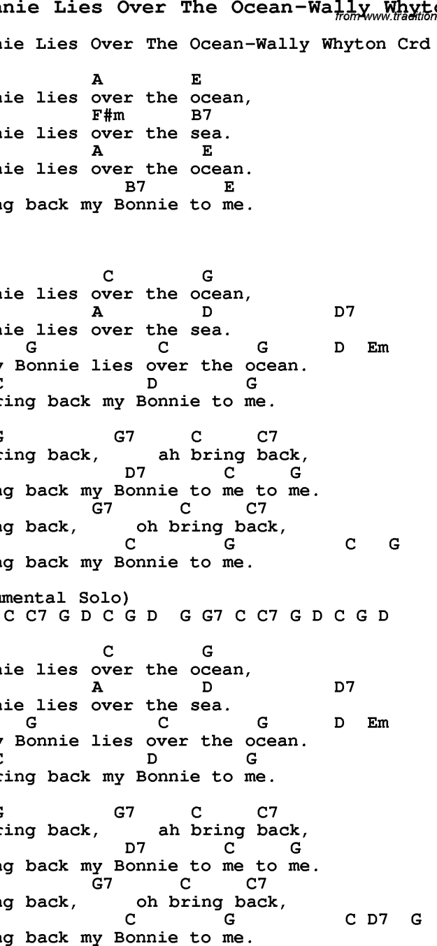 My Bonnie Lies Over the Ocean ukulele tabs