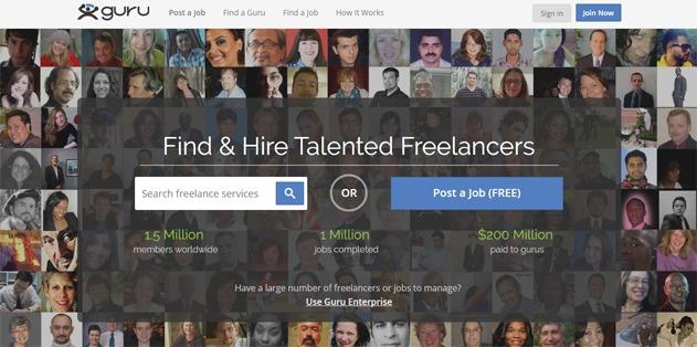 Guru freelance marketplace website
