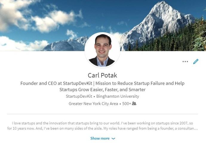 Carl Potak CEO StartupDevKit LinkedIn profile - LinkedIn marketing best practices guide