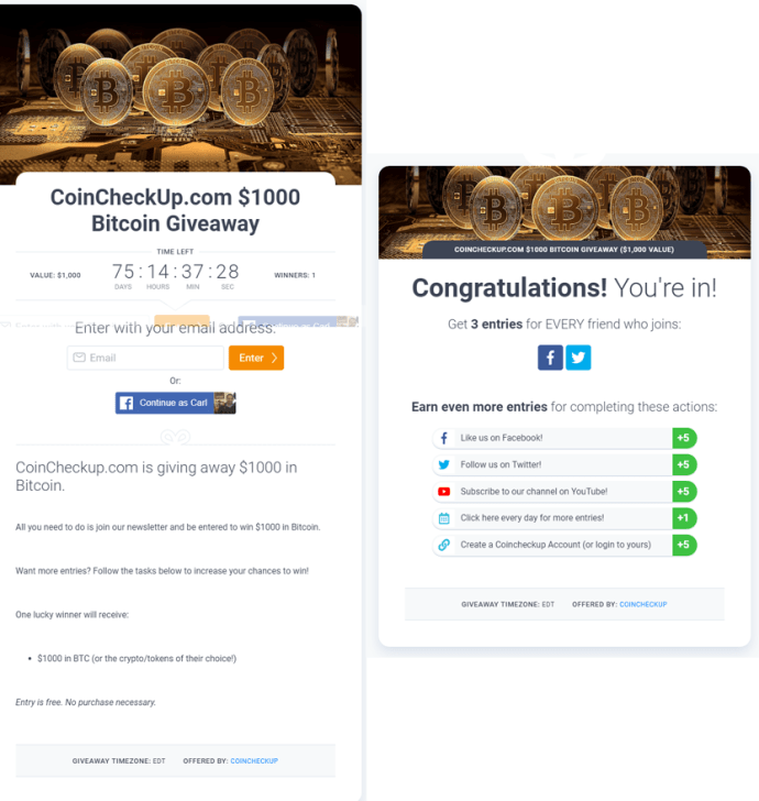 KingSumo Viral Marketing Campaign Example CoinCheckUp