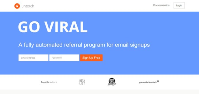 Untorch screenshot - Viral Marketing Tool for Email Sign Up - StartupDevKit