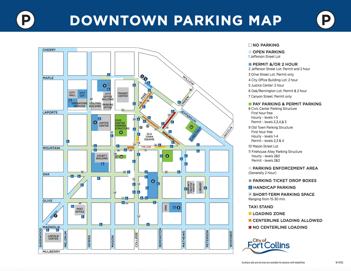 Downtown Fort Collins Parking Map