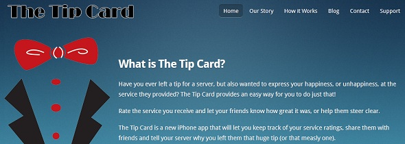 TheTipCard - startup featured on StartUpLift for website feedback