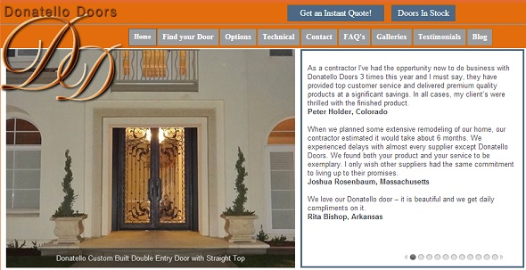Donatello Doors - startup featured on StartUpLift for startup and website feedback