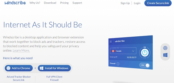 windscribe - startup featured on StartUpLift for startup feedback and website feedback