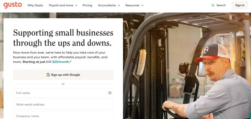 Gusto  - Best Online Payroll Provider for Small Business