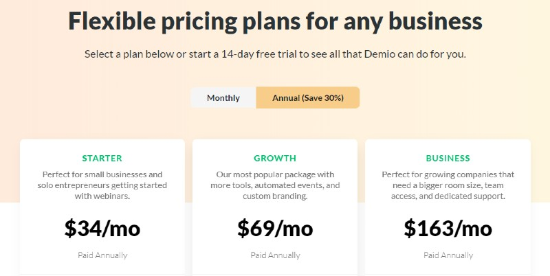 pricing - Demio Review: Webinar Software for Marketers