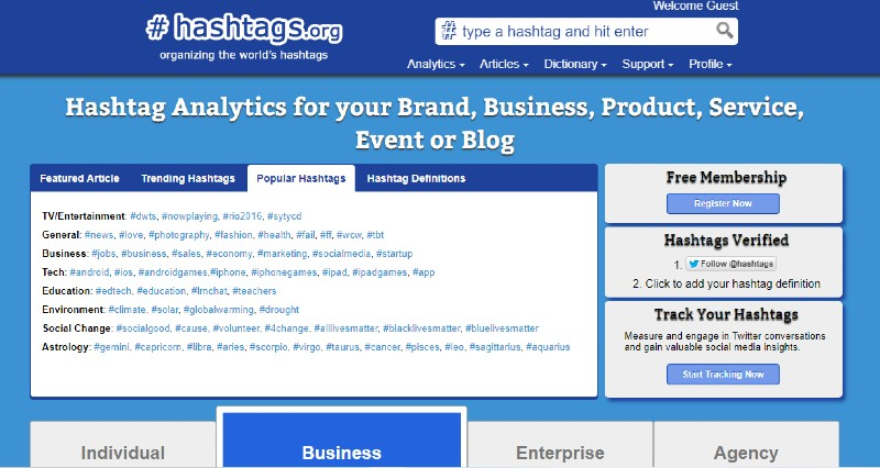 Hashtags.org - Finding the Best Hashtags for Your Business