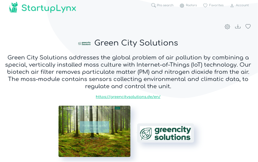 Green City Solutions blends the natural potential of plants to recycle and purify air with the Internet of Things technologies, based on providing improved living environments for residents in communities, to make a strong contribution to the growth of smarter cities.