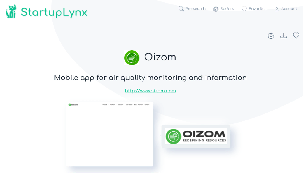 Oizom, mobile app for air quality monitoring and information
