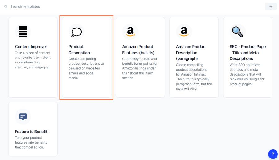 product description generator: template