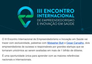 III Encontro Internacional de Empreendedorismo e Inovação, em Saúde