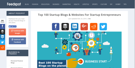 Startuptipsdaily.com On FeedSpot Top 100 Startup Blogs