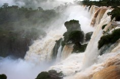 Dramatic drop of Iguazu Falls as seen from Upper Trail