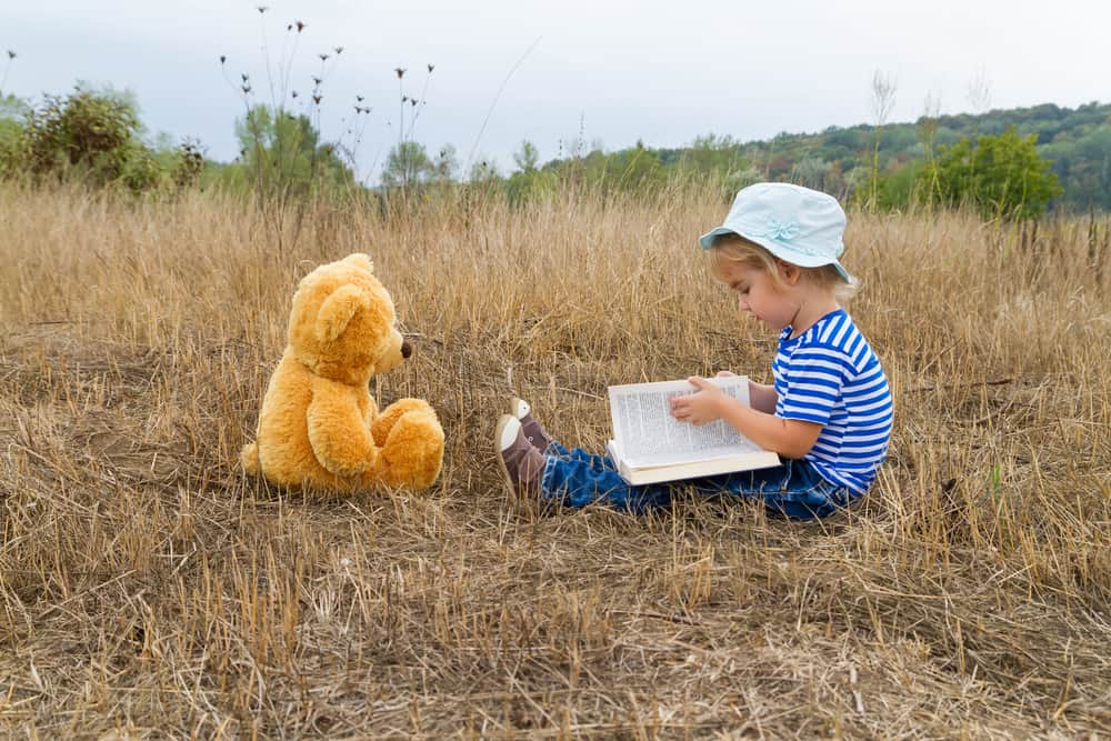 Child reading a story to a teddy bear. Illustrative image to show how storytelling can be used  to write effective crowdfunding pitch.