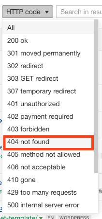 HTTP code dropdown menu in Ahrefs