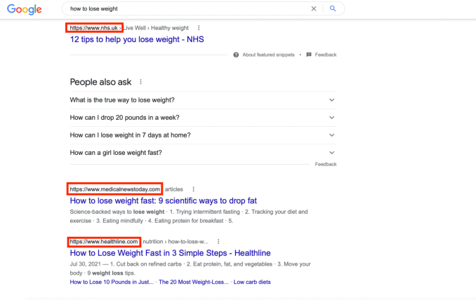 google search results for how to lose wieght