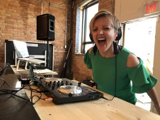 Superstar Deb on the Decks at one of our Socials