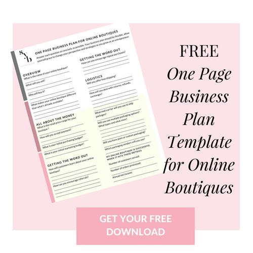 How to create a business plan for your online boutique one page one page business plan template for online boutiques wajeb Gallery