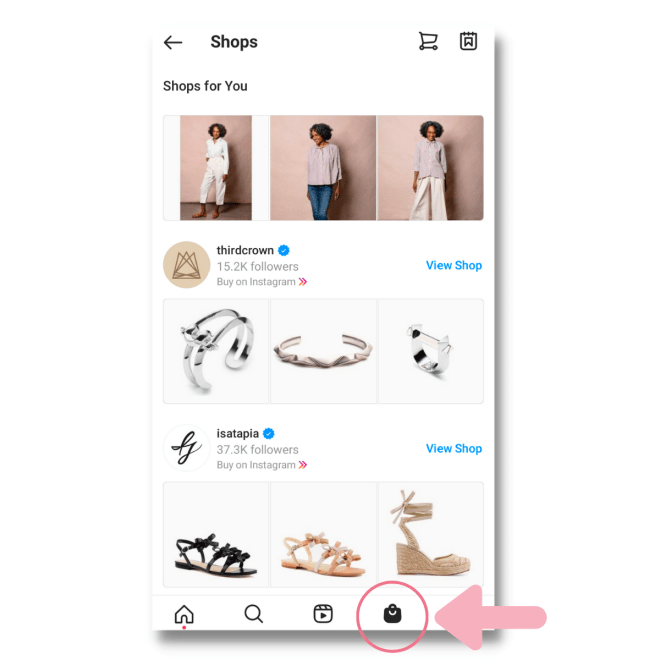 use the shop explore tab on instagram to start your online boutique