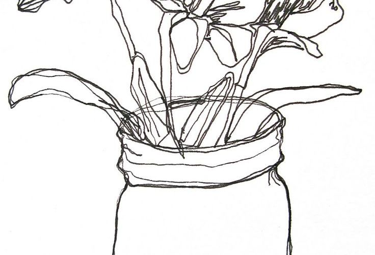 The first one is a line drawing of dandelions