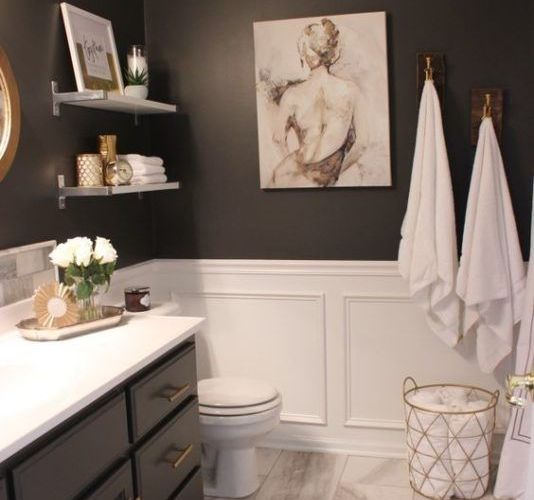 arty black bathroom                                                             …