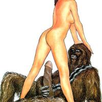 Nude Princess Leia is going to ride on wookie's cock - biggest cock of her lifetime!