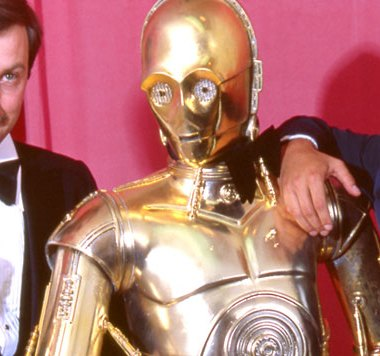 Ben Burtt, C3PO and Mark Hamill at the 1978 academy awards