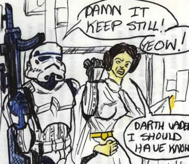 Leia resists arrest by the stormtrooper with a big gun! Star Wars comic drawing detail