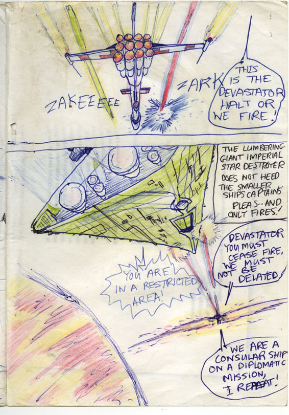 The Tantive IV Rebel blockade runner is pursued and fired upon by an Imperial Destroyer, in this full colour Star Wars comic page of 1980