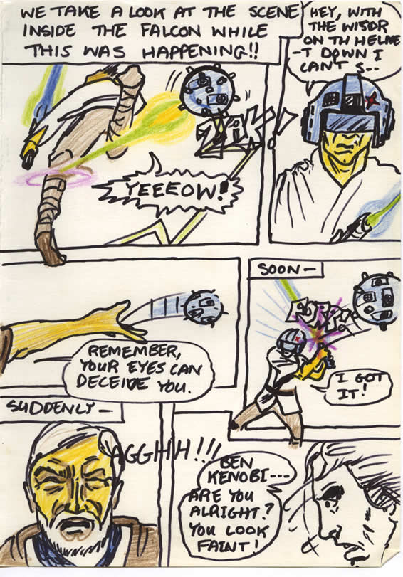 Ben trains trains Luke in lightsaber skill with the floating training remote aboard the Millennium Falcon, in this Star Wars comic page drawn by a kid in Ireland