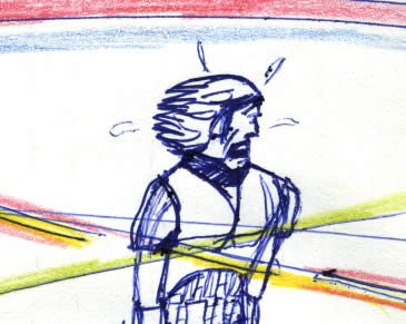 Luke Skywalker, narrowly avoiding blaster fire in this comic page