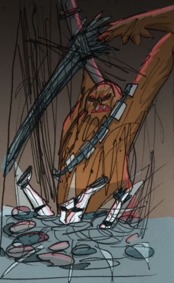 Chewie and Luke in the trash compactor