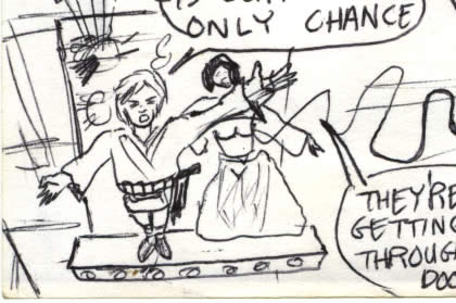 Leia and Luke about to swing across the shaft in this star wars comic page detail image