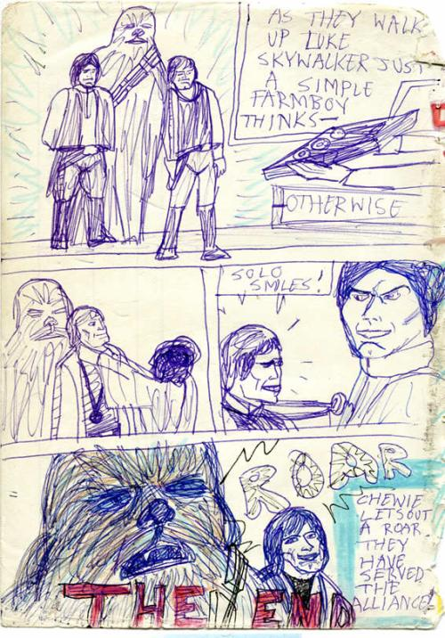 Throne room scene in this 1970s Star Wars comic page. Luke and Han receive their medals