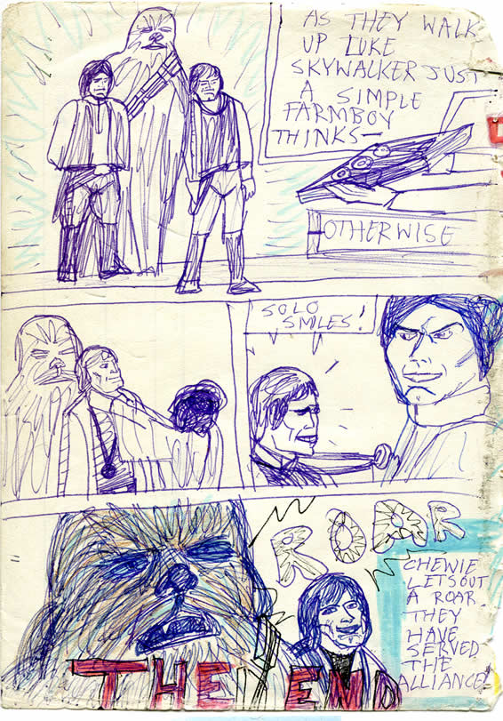 Han, Chewie and Luke stand before Leia in the Throne room to receive their medals. Chewie roars in clebration. The End. Star Wars comic page from around 1978 or 1979
