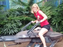Great geeky photo of me on the speeder bike outside the ride