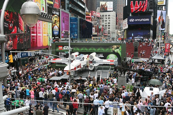 Massive Lego X-wing Takes In Times Square