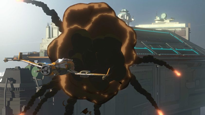 Kaz destroys Vonreg in Star Wars Resistance.