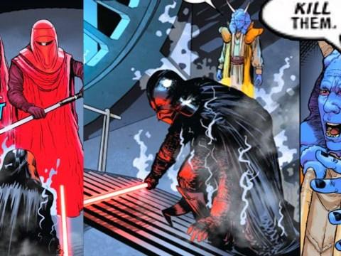 Mas Amedda electrocutes Darth Vader with Royal Guards 10