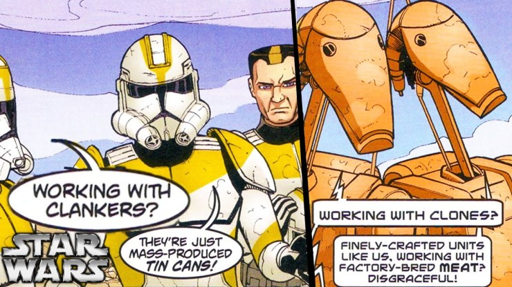Commander Cody Teamed Up a With A Battle Droid Squad