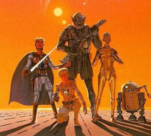 Concept art featuring (from right to left): Han Solo, Luke Skywalker, Chewbacca, C-3P0 and R2D2