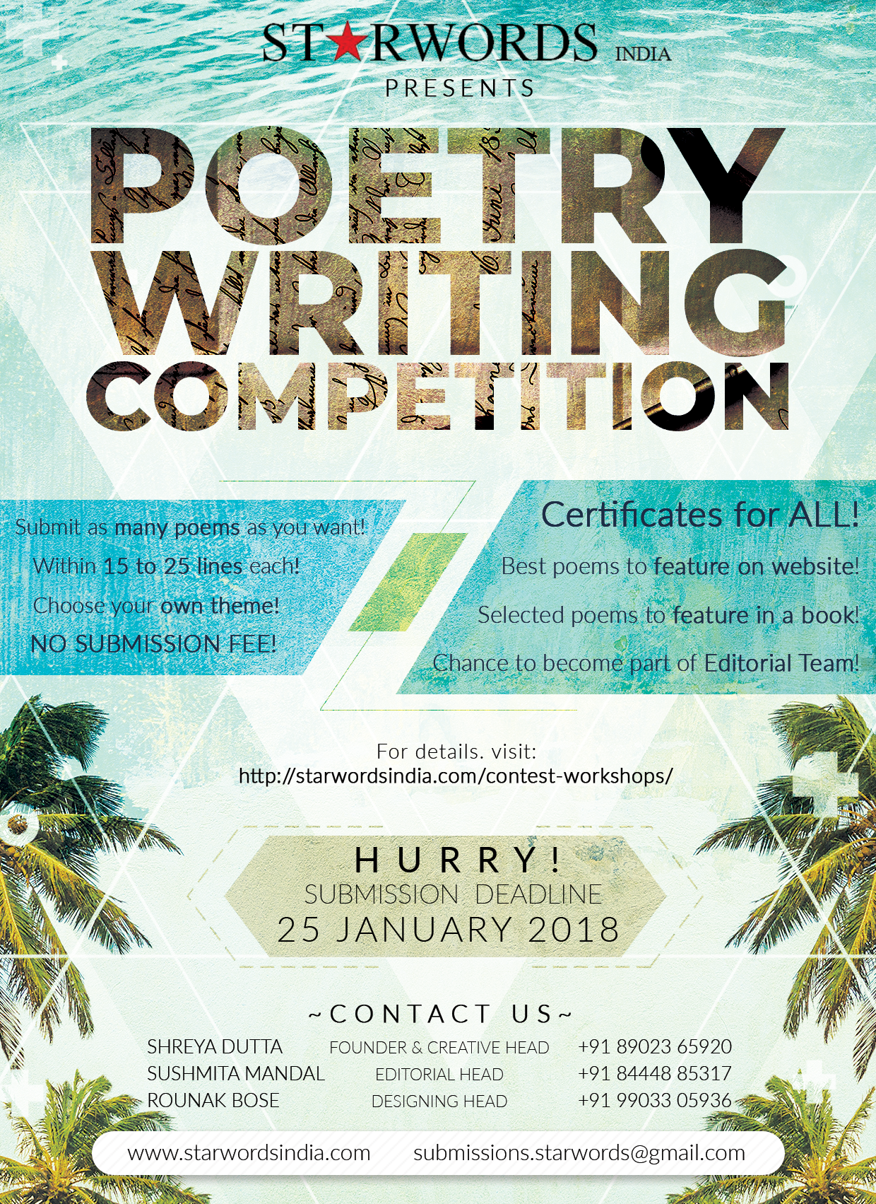 Enter the Poetry Writing Competition and Get a Chance to Become a Published Author!
