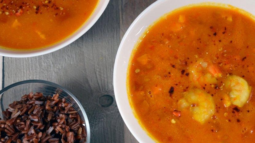 zupa dyniowa z krewetkami